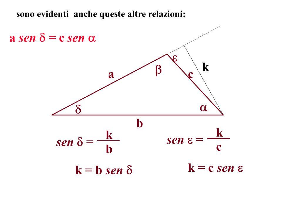 a b c sono evidenti anche queste altre relazioni: k a sen = c sen sen = b k c k k = b sen k = c sen