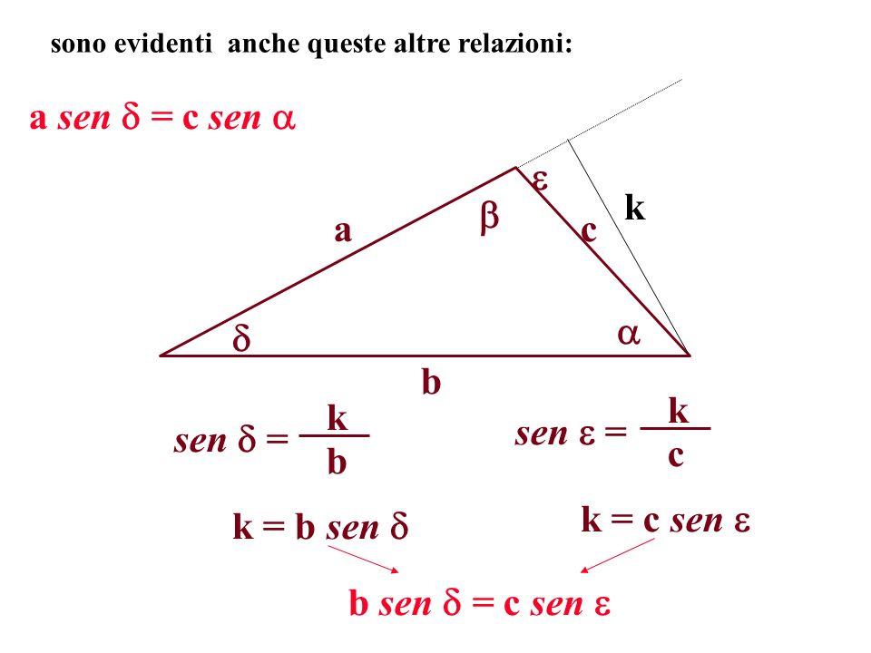 a b c sono evidenti anche queste altre relazioni: k a sen = c sen sen = b k c k k = b sen k = c sen b sen = c sen