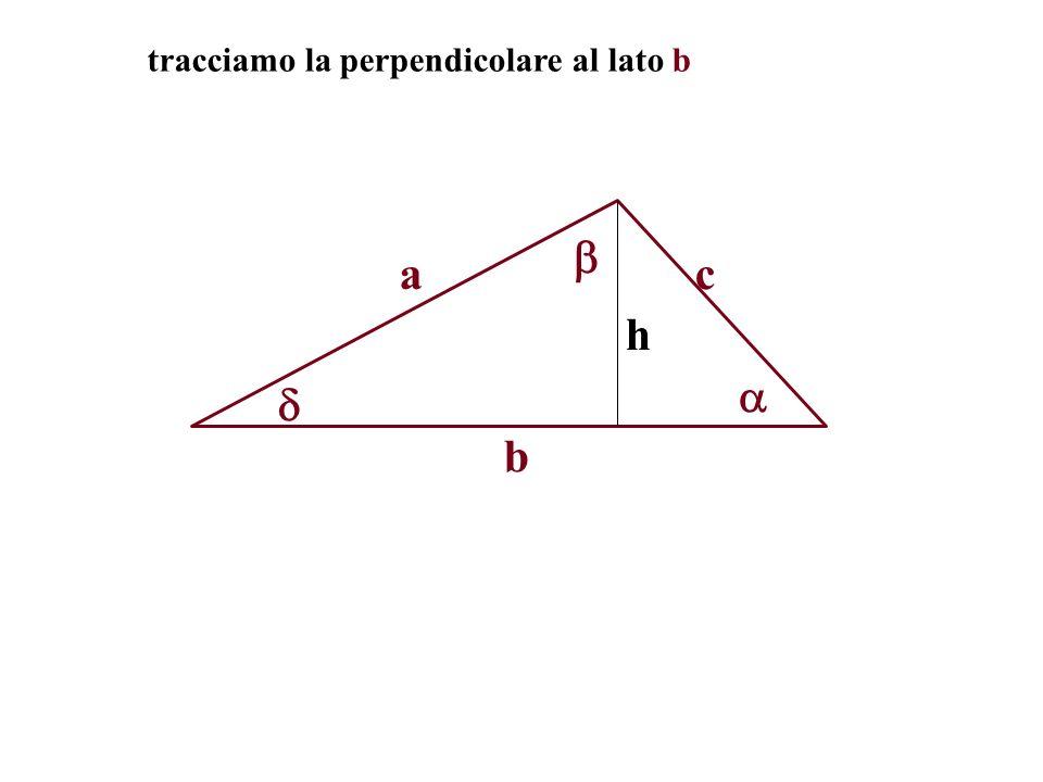 tracciamo la perpendicolare al lato b a b h c