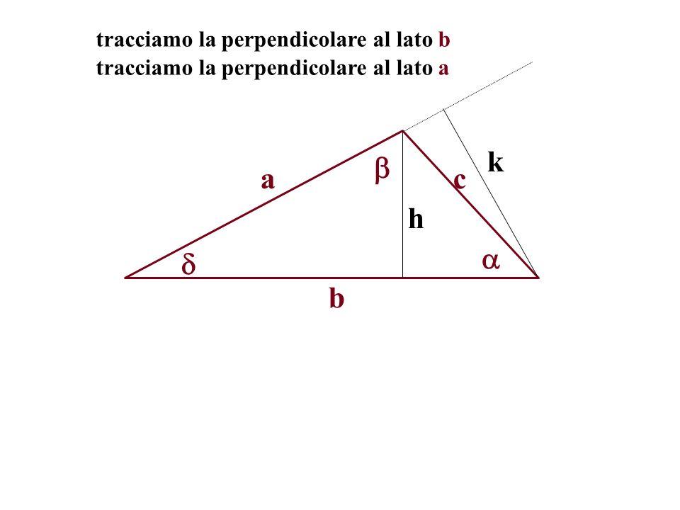 tracciamo la perpendicolare al lato b a b c h tracciamo la perpendicolare al lato a k
