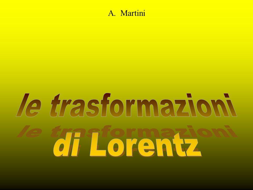 Trasformazioni di GalileoTrasformazioni di Lorentz Quando i due SRI hanno gli assi cartesiani coincidenti e la velocità relativa parallela allasse X