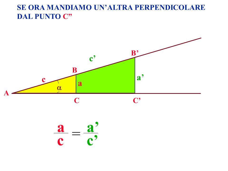 SE ORA MANDIAMO UNALTRA PERPENDICOLARE DAL PUNTO C A B CC B a c c a a c a c =