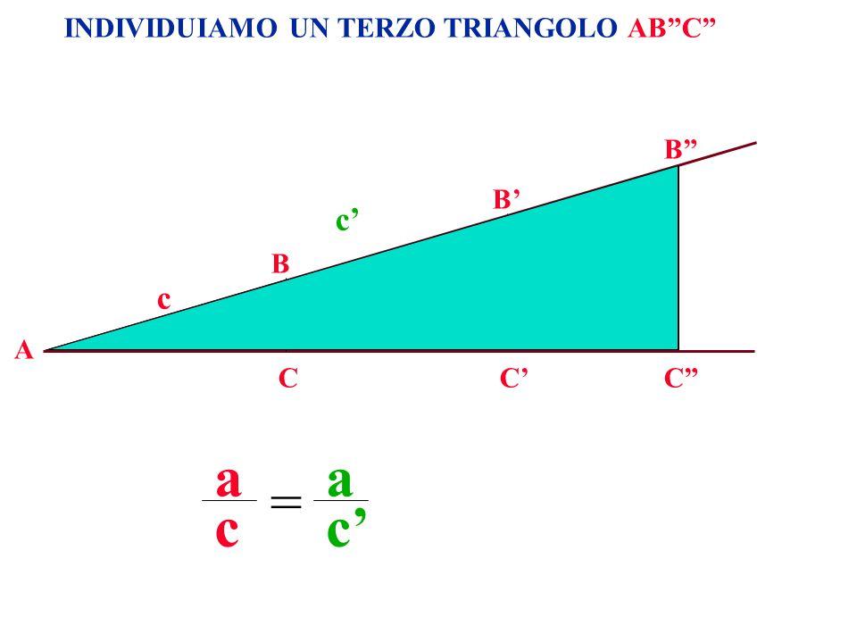 INDIVIDUIAMO UN TERZO TRIANGOLO ABC A B CC B a c c a a c a c = C B