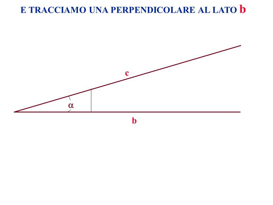 A B CC B a c c a a c a c = POICHÉ QUESTI DUE TRIANGOLI SONO SIMILI POSSIAMO SCRIVERE LA RELAZIONE: