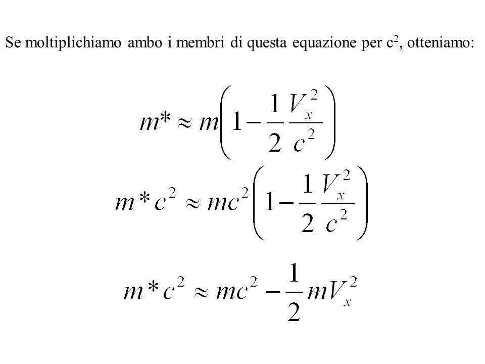 Se moltiplichiamo ambo i membri di questa equazione per c 2, otteniamo: