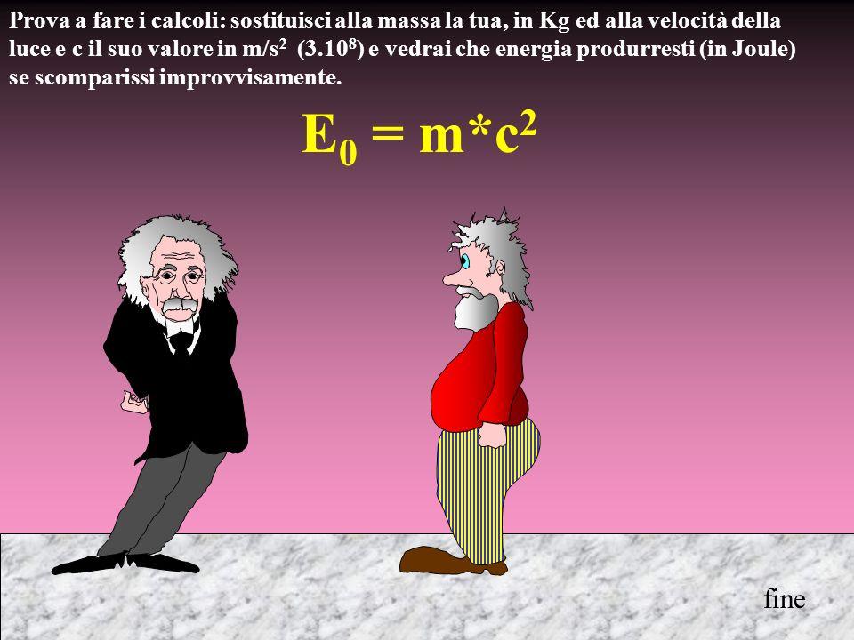 Prova a fare i calcoli: sostituisci alla massa la tua, in Kg ed alla velocità della luce e c il suo valore in m/s 2 (3.10 8 ) e vedrai che energia pro