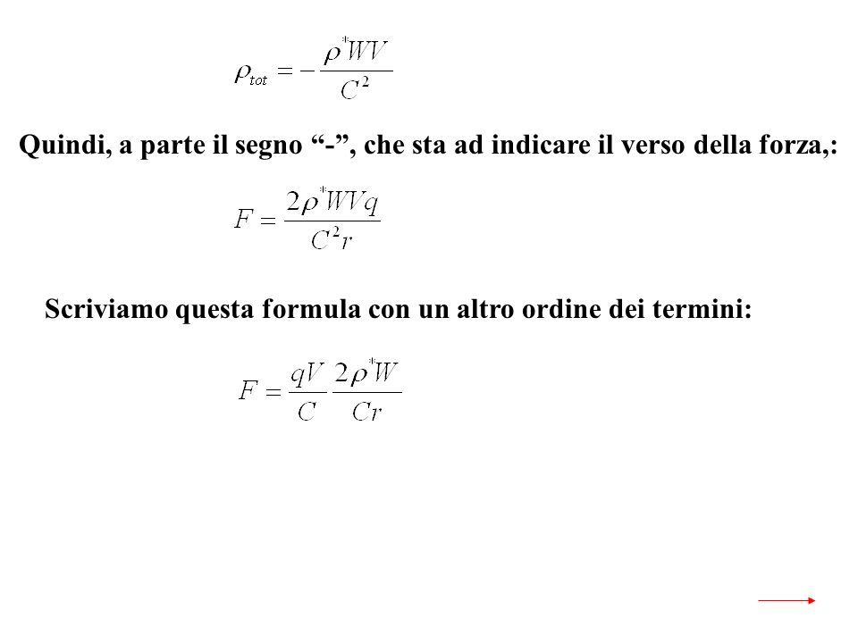 Scriviamo questa formula con un altro ordine dei termini: Quindi, a parte il segno -, che sta ad indicare il verso della forza,: