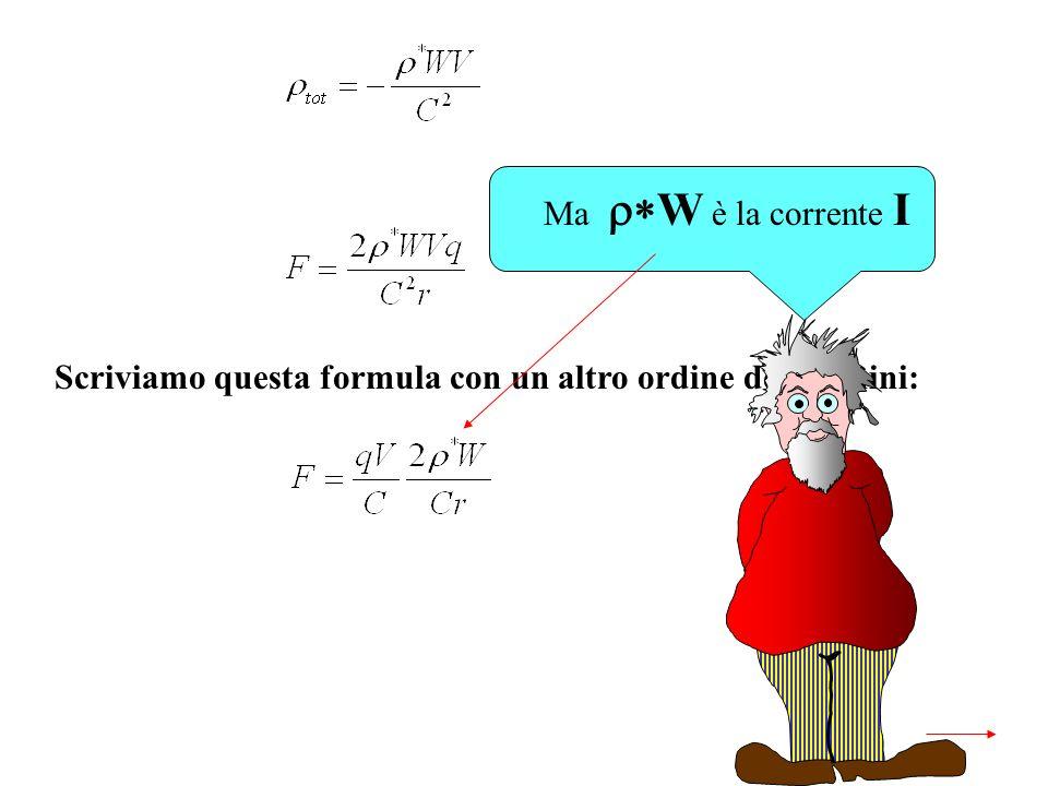 Scriviamo questa formula con un altro ordine dei termini: Ma W è la corrente I
