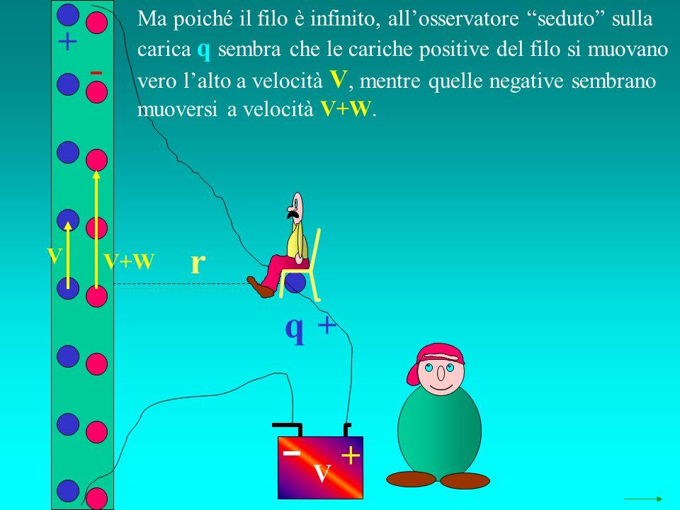 q r + + + V V+W V Ma poiché il filo è infinito, allosservatore seduto sulla carica q sembra che le cariche positive del filo si muovano vero lalto a velocità V, mentre quelle negative sembrano muoversi a velocità V+W.