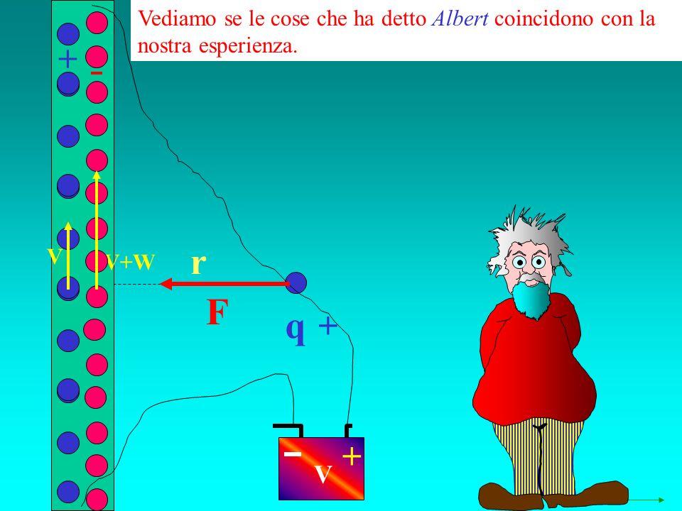 q r Vediamo se le cose che ha detto Albert coincidono con la nostra esperienza. + + + V V+W V F