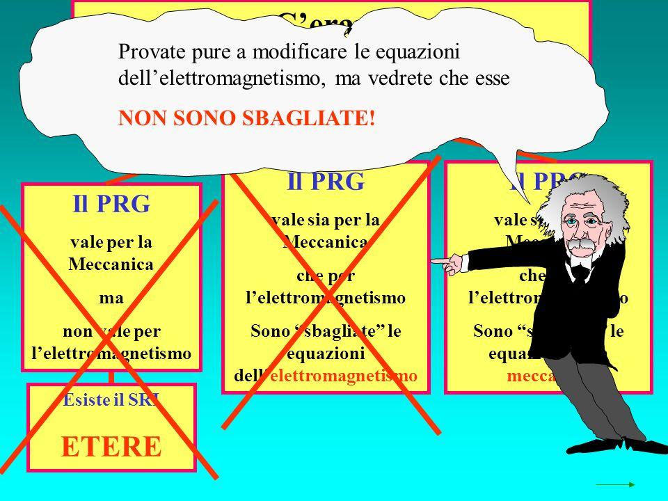 Cerano 3 possibilità Il PRG vale sia per la Meccanica che per lelettromagnetismo Sono sbagliate le equazioni dellelettromagnetismo Il PRG vale sia per la Meccanica che per lelettromagnetismo Sono sbagliate le equazioni della meccanica Il PRG vale per la Meccanica ma non vale per lelettromagnetismo Esiste il SRI ETERE Provate pure a modificare le equazioni dellelettromagnetismo, ma vedrete che esse NON SONO SBAGLIATE!