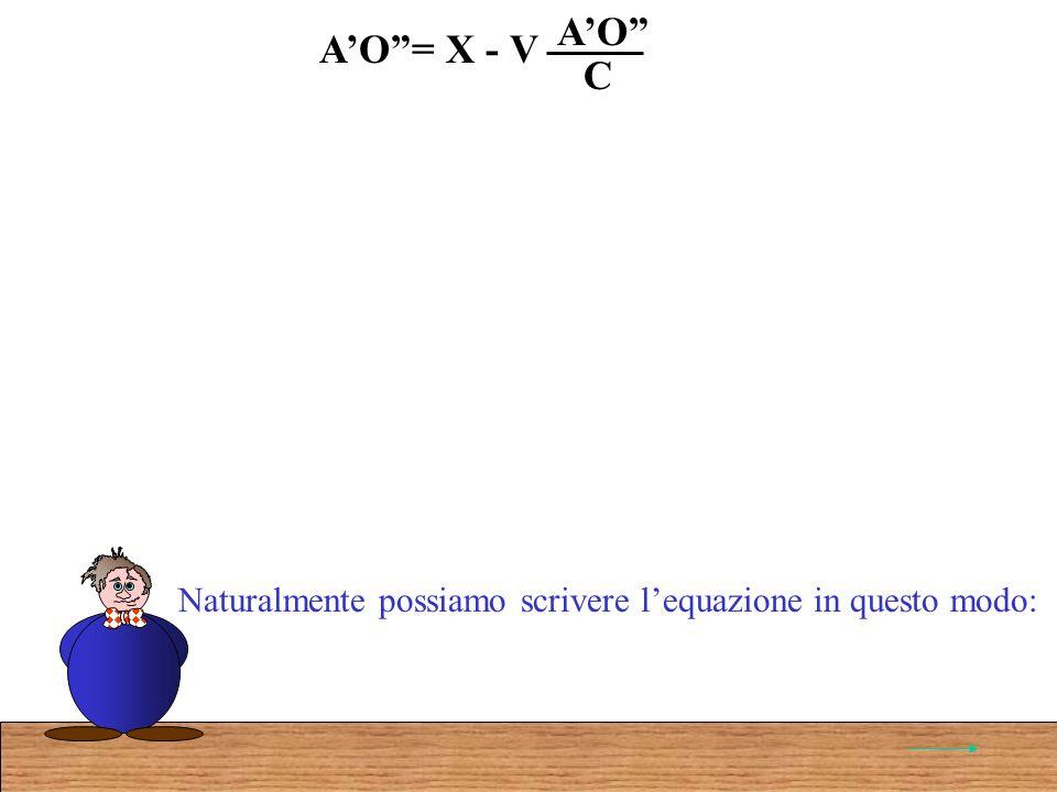 AO= X - V AO C Naturalmente possiamo scrivere lequazione in questo modo: