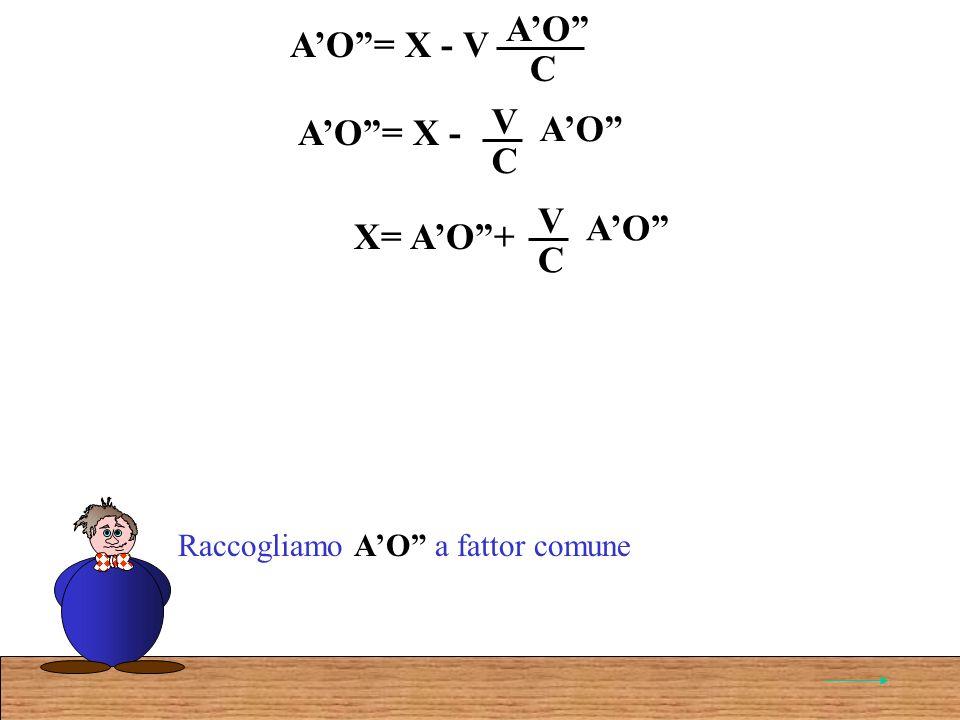 AO= X - V AO C Raccogliamo AO a fattor comune AO= X - AO C V X= AO+ AO C V