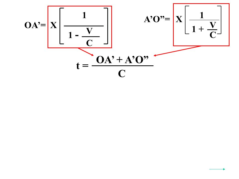 AO=X C V 1 + 1 OA=X 1 V C 1 - t = OA + AO C