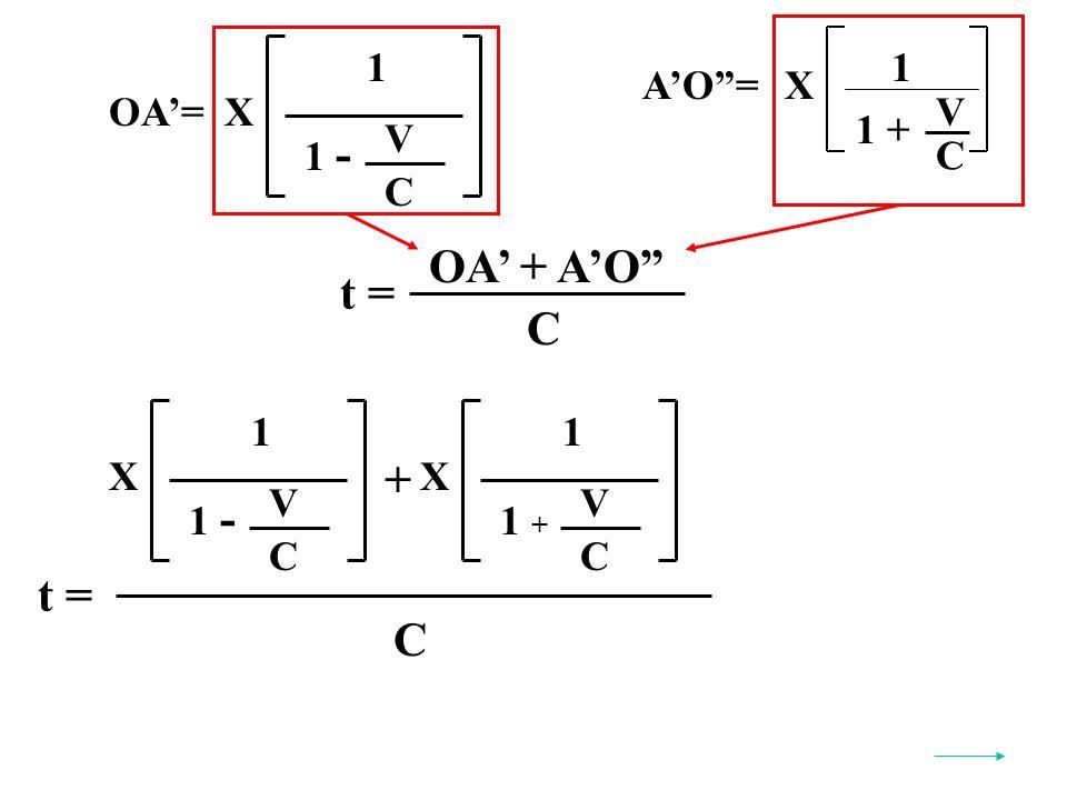 AO=X C V 1 + 1 OA=X 1 V C 1 - t = OA + AO C t = C X 1 V C 1 - X 1 V C 1 + +