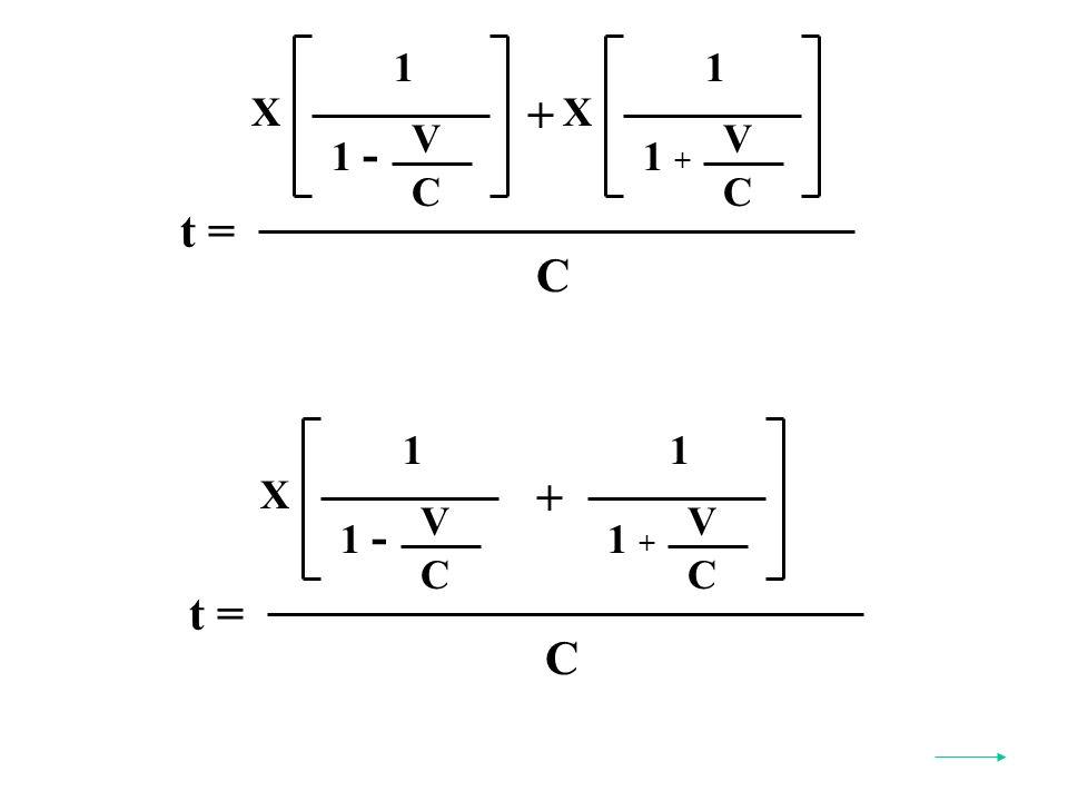 t = C X 1 V C 1 - X 1 V C 1 + + t = C X 1 V C 1 - 1 V C 1 + +