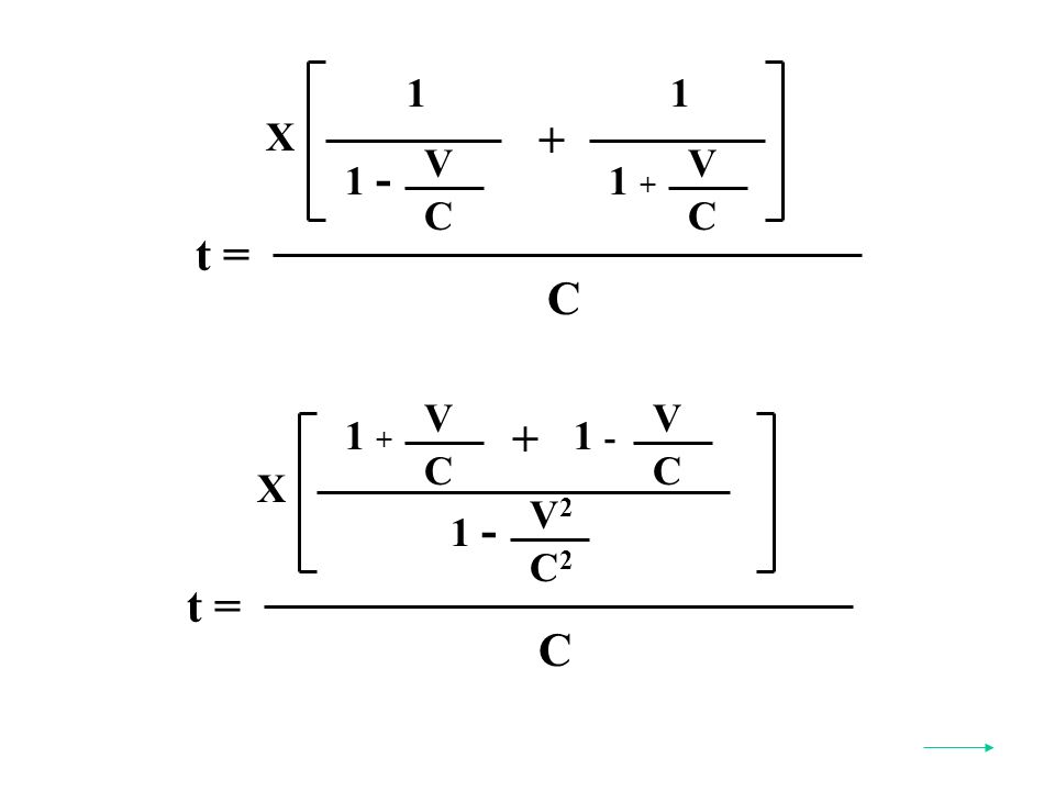 t = C X V2V2 C2C2 1 - V C 1 + + t = C X 1 V C 1 - 1 V C 1 + + V C 1 -