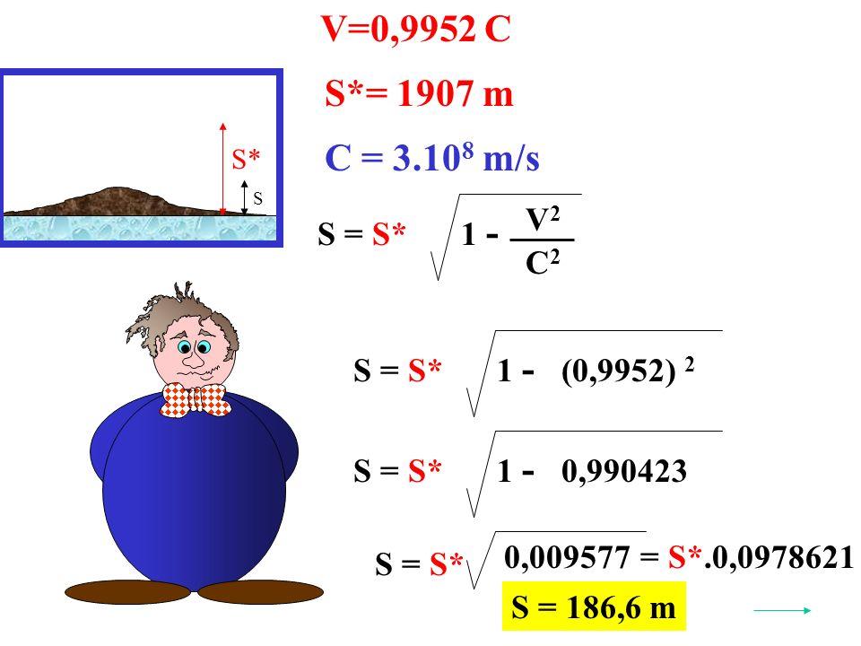 V=0,9952 C S* S*= 1907 m S = S* V2V2 C2C2 1 - C = 3.10 8 m/s (0,9952) 2 S = S* 1 - 0,990423S = S* 1 - 0,009577 S = S* = S*.0,0978621 S = 186,6 m S