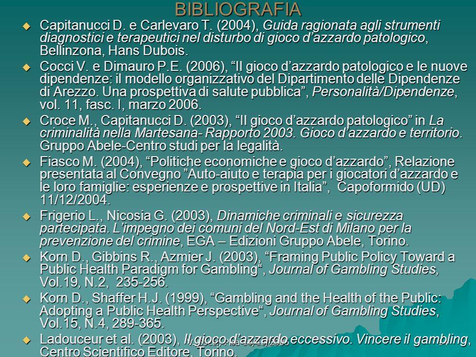 V. Cocci, Pisa 10/10/2006 14BIBLIOGRAFIA Capitanucci D. e Carlevaro T. (2004), Guida ragionata agli strumenti diagnostici e terapeutici nel disturbo d
