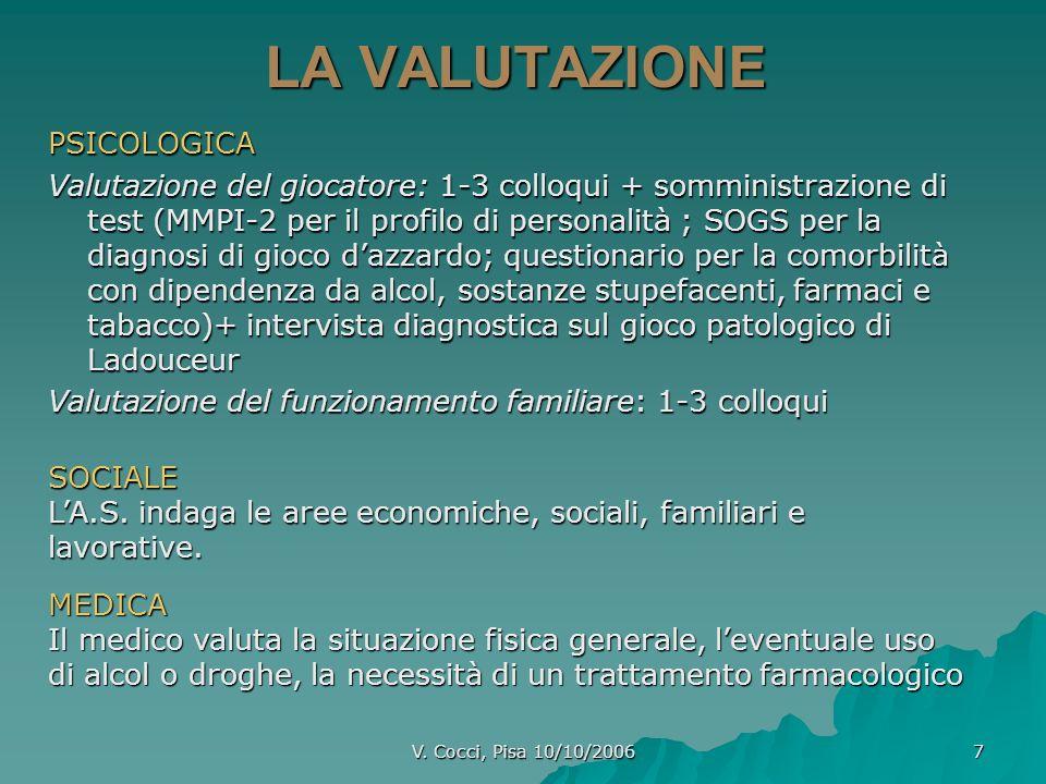 V. Cocci, Pisa 10/10/2006 7 LA VALUTAZIONE PSICOLOGICA Valutazione del giocatore: 1-3 colloqui + somministrazione di test (MMPI-2 per il profilo di pe