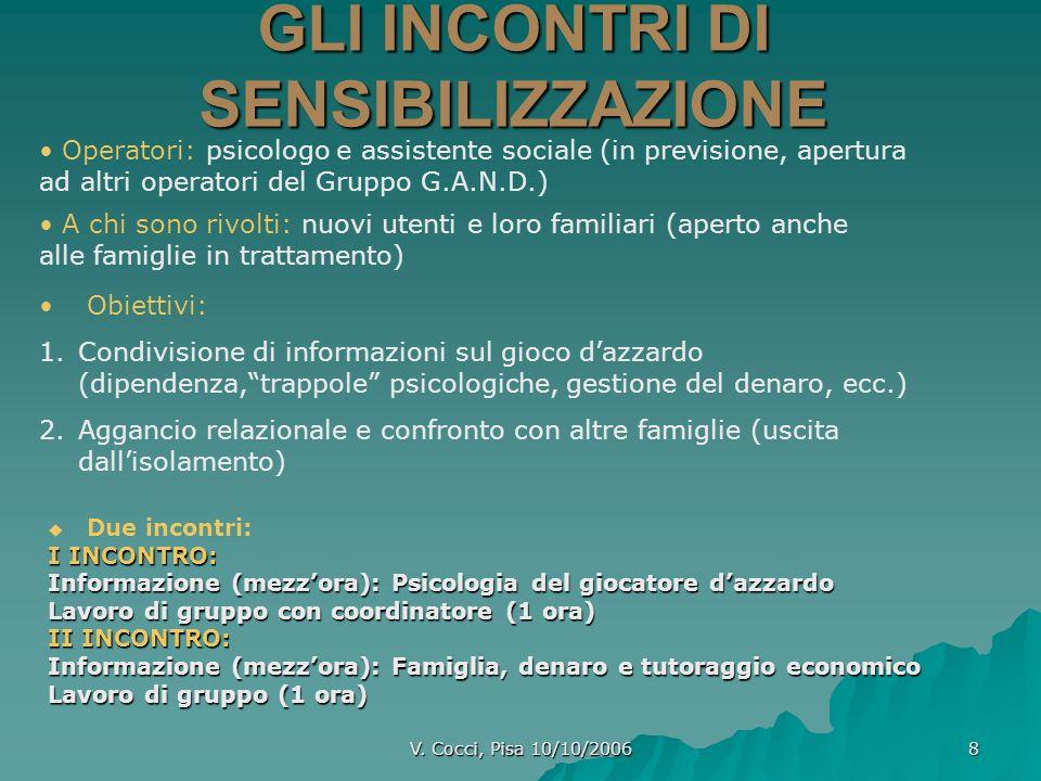 V. Cocci, Pisa 10/10/2006 8 GLI INCONTRI DI SENSIBILIZZAZIONE Due incontri: I INCONTRO: Informazione (mezzora): Psicologia del giocatore dazzardo Lavo
