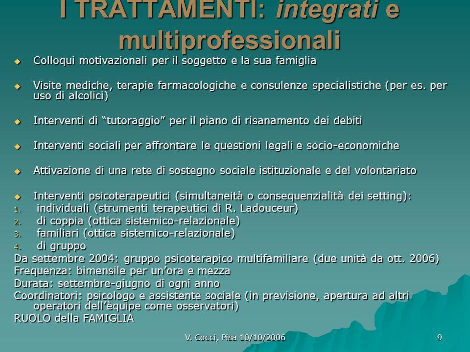 V. Cocci, Pisa 10/10/2006 9 I TRATTAMENTI: integrati e multiprofessionali Colloqui motivazionali per il soggetto e la sua famiglia Visite mediche, ter