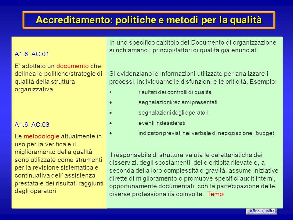USL 8 Ufficio Qualità Accreditamento: politiche e metodi per la qualità A1.6. AC.01 E adottato un documento che delinea le politiche/strategie di qual