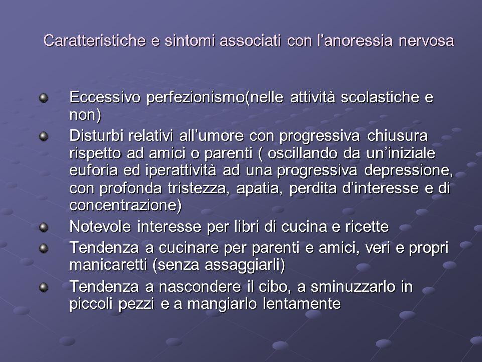 Caratteristiche e sintomi associati con lanoressia nervosa Eccessivo perfezionismo(nelle attività scolastiche e non) Disturbi relativi allumore con pr