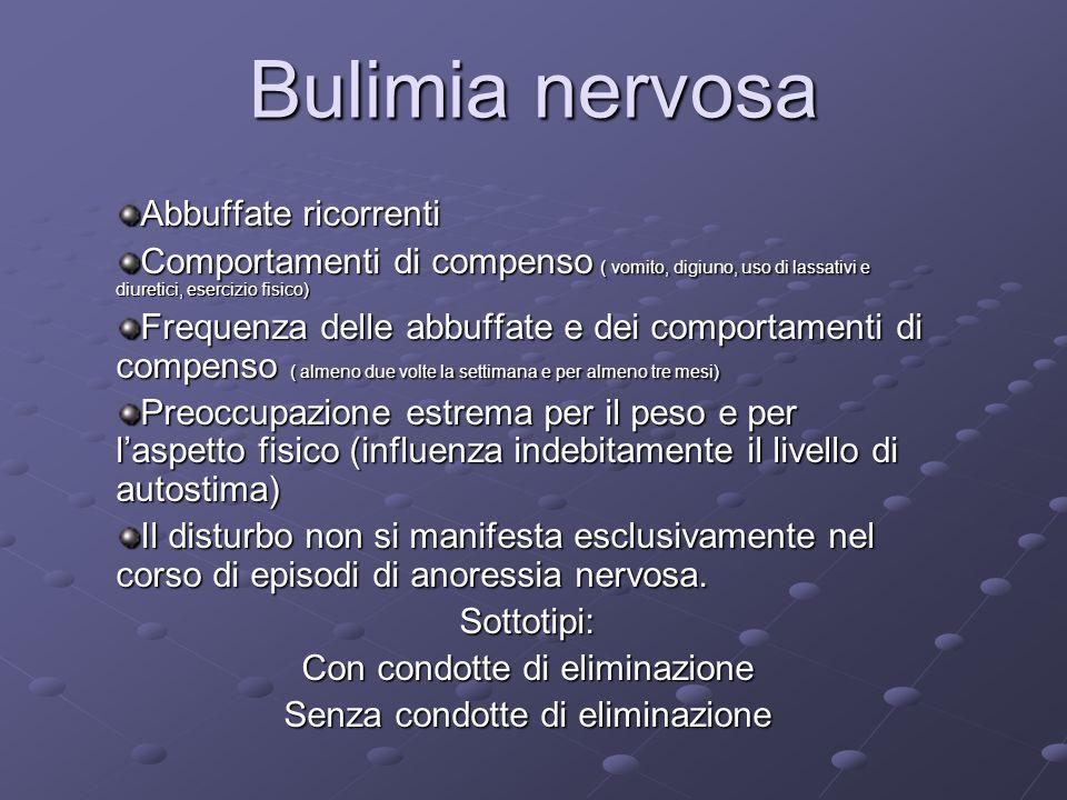 Bulimia nervosa Abbuffate ricorrenti Comportamenti di compenso ( vomito, digiuno, uso di lassativi e diuretici, esercizio fisico) Frequenza delle abbu