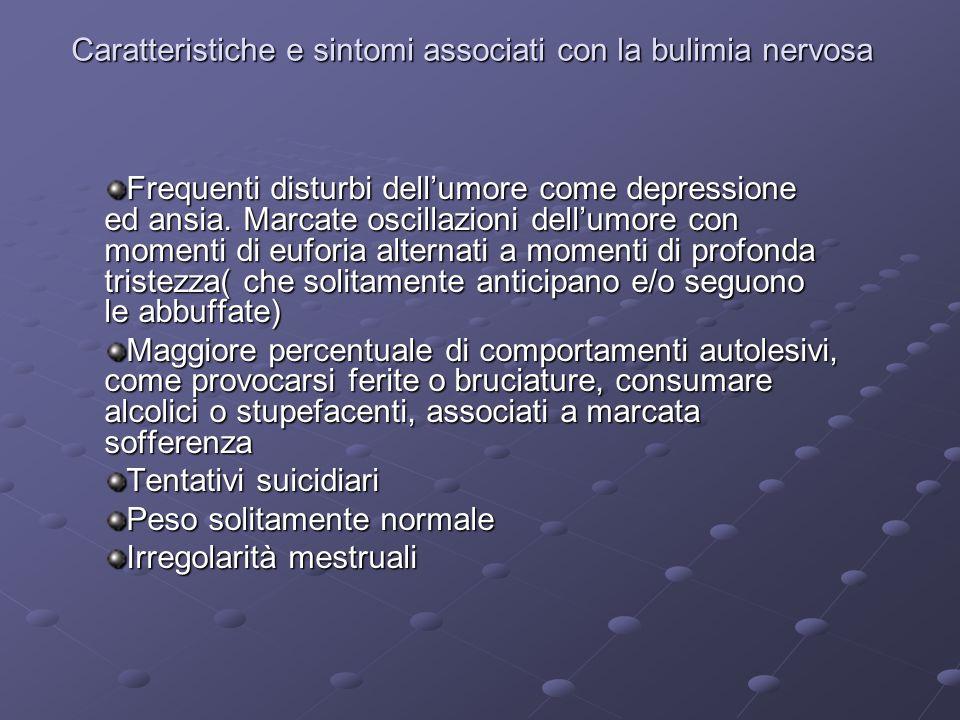 Caratteristiche e sintomi associati con la bulimia nervosa Frequenti disturbi dellumore come depressione ed ansia. Marcate oscillazioni dellumore con