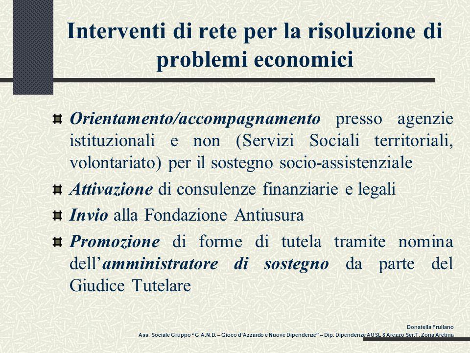 Interventi di rete per la risoluzione di problemi economici Orientamento/accompagnamento presso agenzie istituzionali e non (Servizi Sociali territori