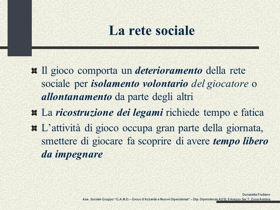 La rete sociale Il gioco comporta un deterioramento della rete sociale per isolamento volontario del giocatore o allontanamento da parte degli altri L