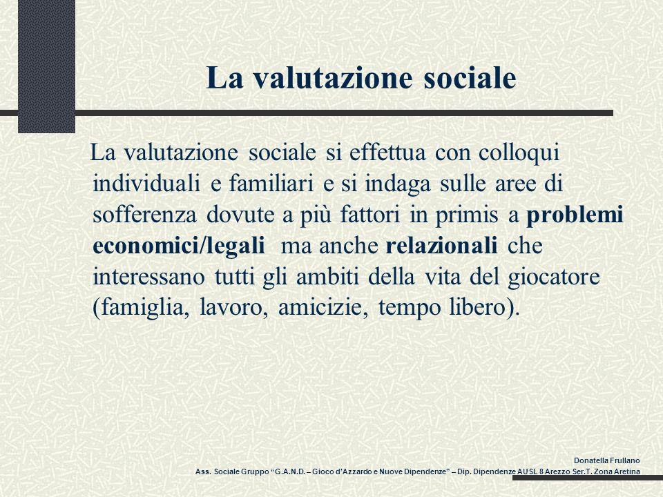 La valutazione sociale La valutazione sociale si effettua con colloqui individuali e familiari e si indaga sulle aree di sofferenza dovute a più fatto
