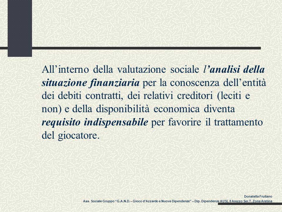 Allinterno della valutazione sociale lanalisi della situazione finanziaria per la conoscenza dellentità dei debiti contratti, dei relativi creditori (