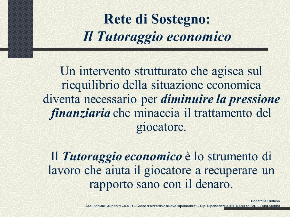 Rete di Sostegno: Il Tutoraggio economico Un intervento strutturato che agisca sul riequilibrio della situazione economica diventa necessario per dimi