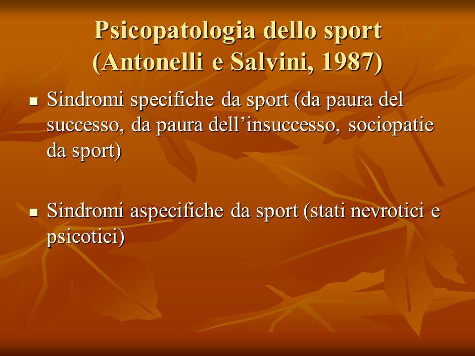 Psicopatologia dello sport (Antonelli e Salvini, 1987) Sindromi specifiche da sport (da paura del successo, da paura dellinsuccesso, sociopatie da spo