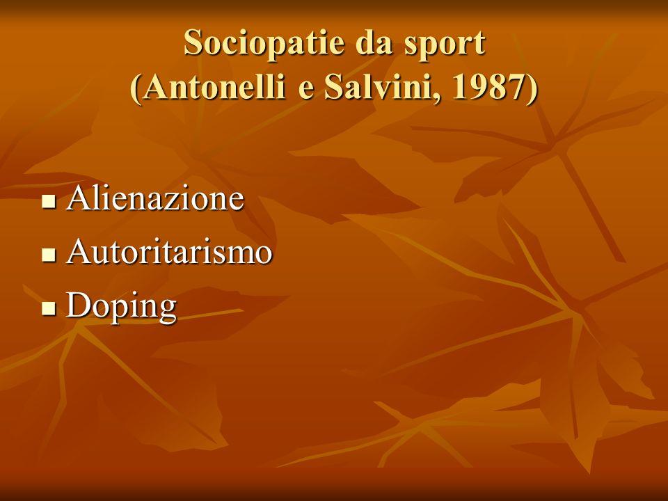 Sociopatie da sport (Antonelli e Salvini, 1987) Alienazione Alienazione Autoritarismo Autoritarismo Doping Doping