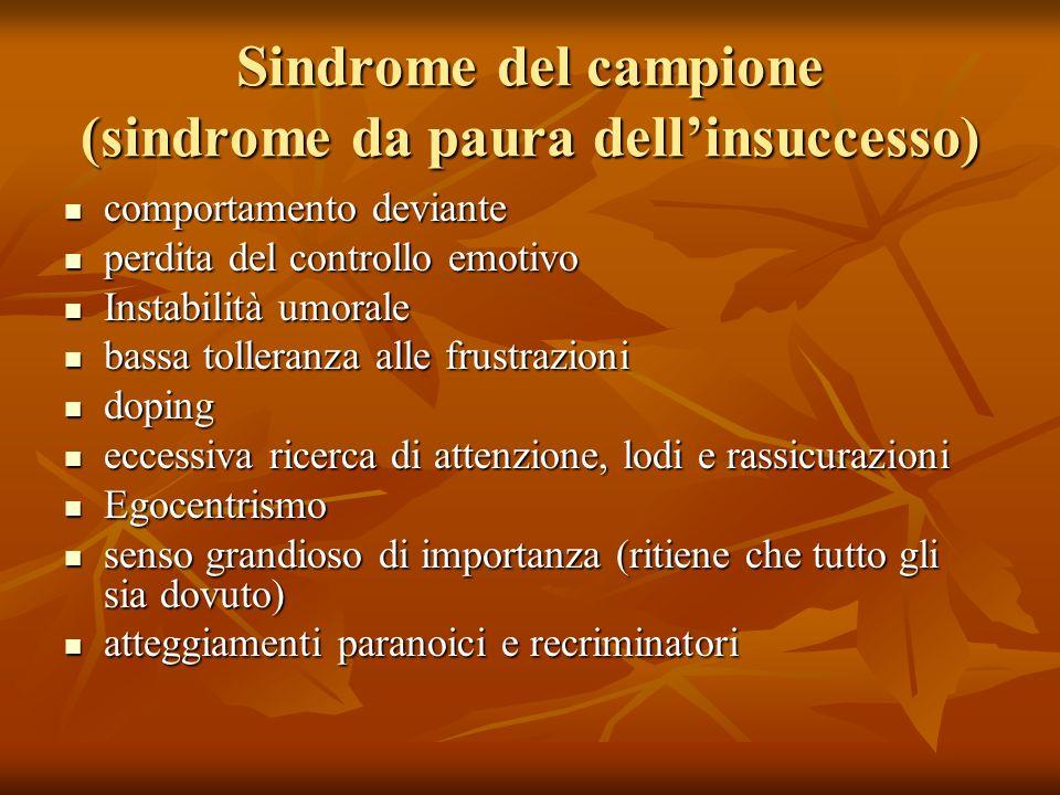 Sindrome del campione (sindrome da paura dellinsuccesso) comportamento comportamento deviante perdita perdita del controllo emotivo Instabilità Instab