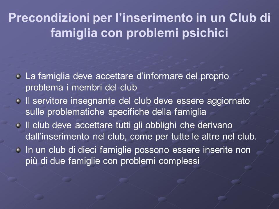 Precondizioni per linserimento in un Club di famiglia con problemi psichici La famiglia deve accettare dinformare del proprio problema i membri del cl
