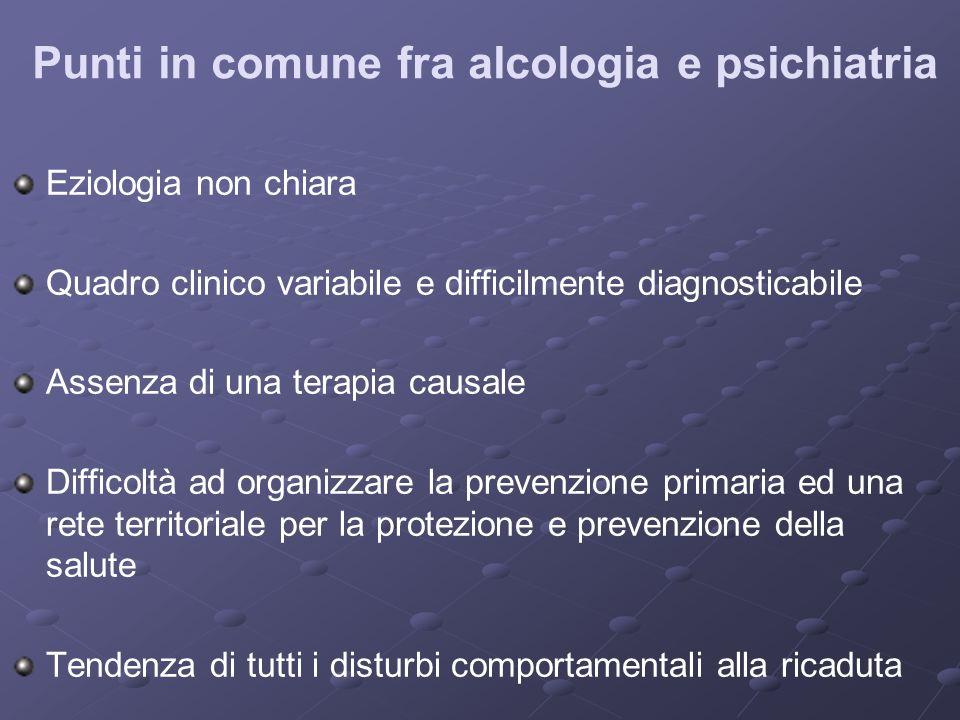 Punti in comune fra alcologia e psichiatria Eziologia non chiara Quadro clinico variabile e difficilmente diagnosticabile Assenza di una terapia causa
