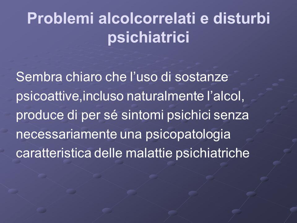 Problemi alcolcorrelati e disturbi psichiatrici Sembra chiaro che luso di sostanze psicoattive,incluso naturalmente lalcol, produce di per sé sintomi