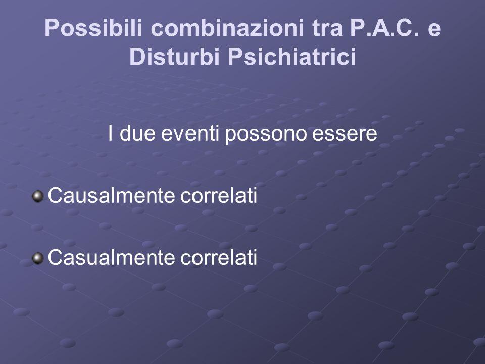 Possibili combinazioni tra P.A.C. e Disturbi Psichiatrici I due eventi possono essere Causalmente correlati Casualmente correlati