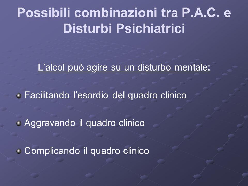 Possibili combinazioni tra P.A.C. e Disturbi Psichiatrici Lalcol può agire su un disturbo mentale: Facilitando lesordio del quadro clinico Aggravando