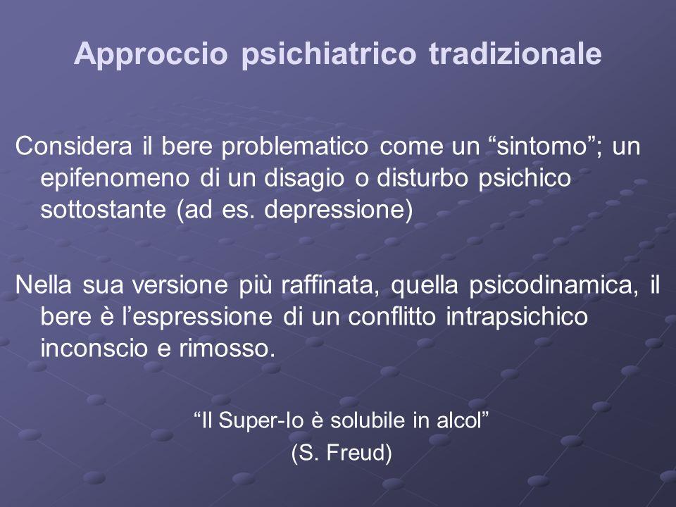 Approccio psichiatrico tradizionale Considera il bere problematico come un sintomo; un epifenomeno di un disagio o disturbo psichico sottostante (ad e