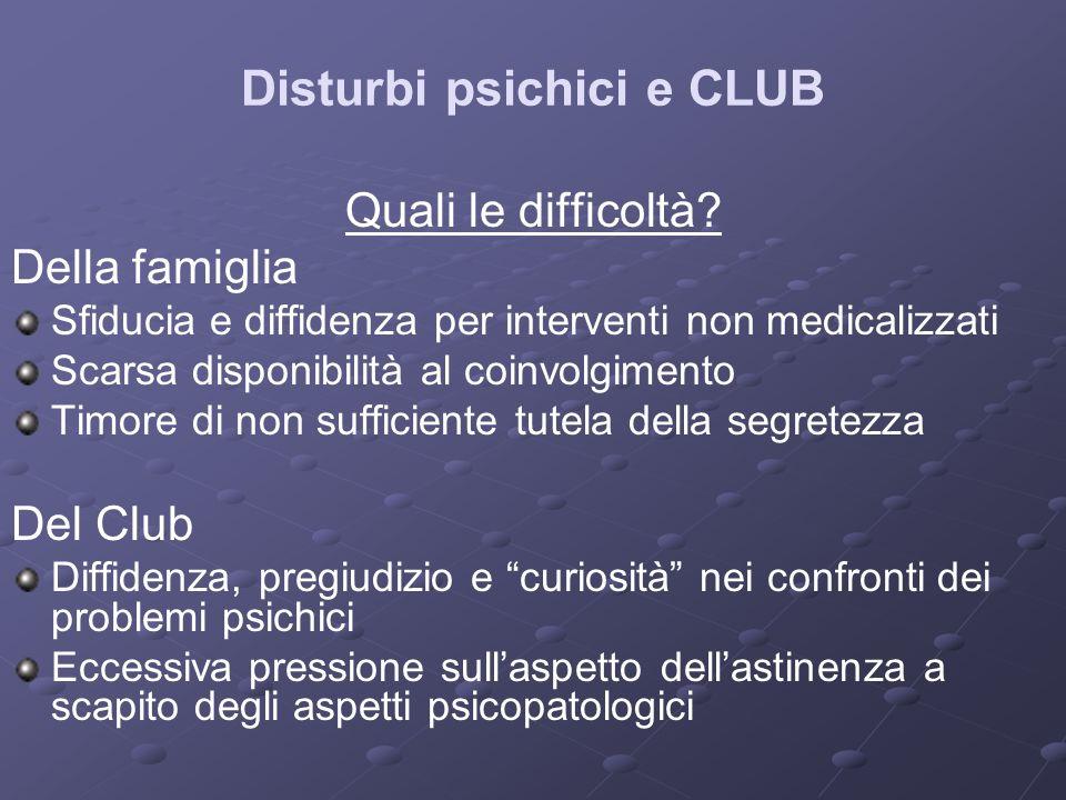 Disturbi psichici e CLUB Quali le difficoltà? Della famiglia Sfiducia e diffidenza per interventi non medicalizzati Scarsa disponibilità al coinvolgim