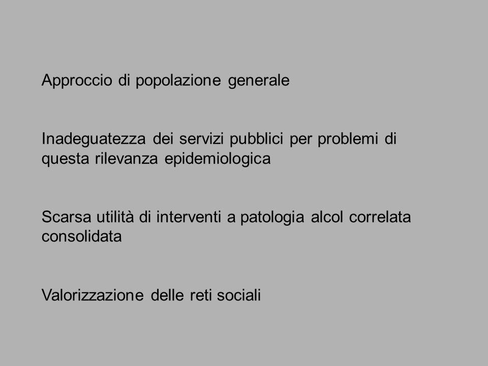 Approccio di popolazione generale Inadeguatezza dei servizi pubblici per problemi di questa rilevanza epidemiologica Scarsa utilità di interventi a patologia alcol correlata consolidata Valorizzazione delle reti sociali