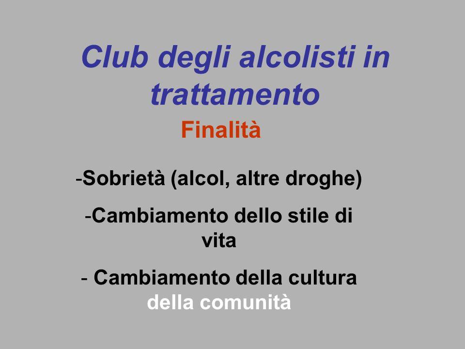 Club degli alcolisti in trattamento -Sobrietà (alcol, altre droghe) -Cambiamento dello stile di vita - Cambiamento della cultura della comunità Finalità
