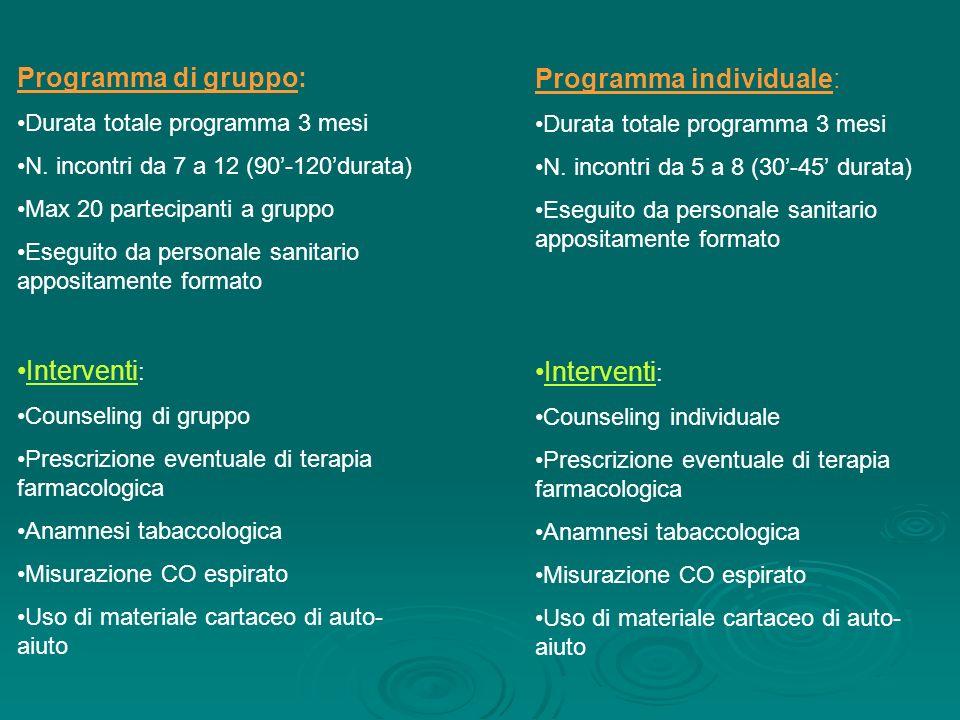 Programma di gruppo: Durata totale programma 3 mesi N. incontri da 7 a 12 (90-120durata) Max 20 partecipanti a gruppo Eseguito da personale sanitario