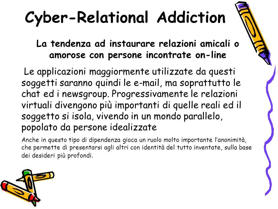 Cyber-Relational Addiction La tendenza ad instaurare relazioni amicali o amorose con persone incontrate on-line Le applicazioni maggiormente utilizzat