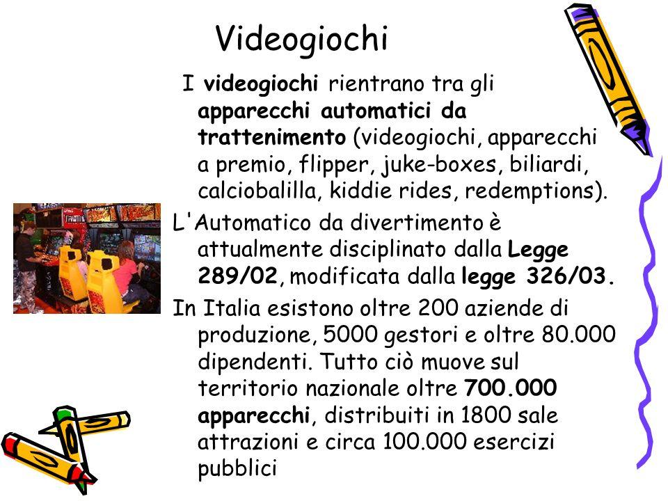 Videogiochi I videogiochi rientrano tra gli apparecchi automatici da trattenimento (videogiochi, apparecchi a premio, flipper, juke-boxes, biliardi, c